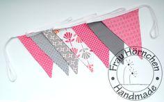 Wimpelkette rosa-grau von Frau Hörnchen auf DaWanda.com