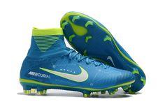 release date 03459 7b4c1 Nike Mercurial Superfly V NJR FG Blue Yellow White Soccer Shoes Mens 2017