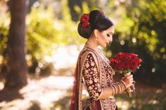 Bridal bouquet of deep red roses