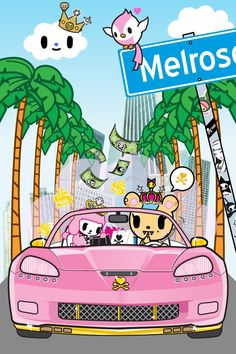 Tokidoki.. Pink car and cute little bird :)