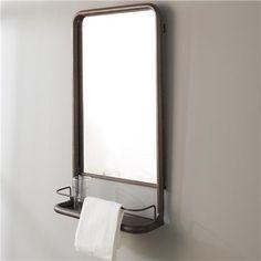 Metal Frame Pharmacy Mirror with Shelf gray green 31hx18w