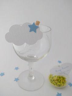 Lot de 10 marque-place mariage / baptême nuage étoilé blanc et bleu lavande à personnaliser et ses confettis : Cuisine et service de table par magic-events