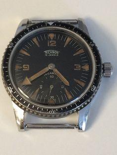 Mega Rare - Vintage Technos Gunzinger Frères - First Diver (Sky Diver)- 1950's | eBay