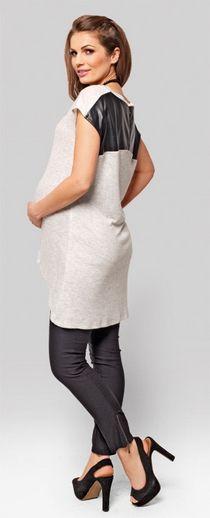 Model foarte comod, material soft, fermoar la spate in combinatie cu imitatia de piele, culoare neutra si usor de asortat.  http://www.mamaboutique.ro/produs/bluze-topuri-tricouri/tunica-jagger