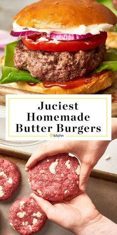 How To Make EASY, JUICY, Homemade Butter Burger Patties. Need recipes and ideas for delicious grilled or stovetop beef hamburgers? These simple and easy fat bombs are like the ones from Culvers, made Hamburger Meat Recipes Ground, Grilled Hamburger Recipes, Beef Recipes, Cooking Recipes, Hamburger Ideas, Healthy Hamburger, Turkey Burger Recipes, Homemade Burger Patties, Recipes