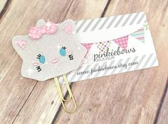Pink/Gold/Tsum Cat/Sparkle Applique Paper Clip/Planner Clip/Journal Marker/Bookmark by pinkiebows on Etsy