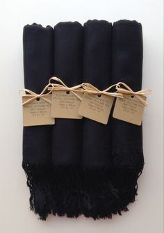 #favorTags Set of 4 Black Shawls with Kraft Favor Tags Pashmina Wedding Favor Bridal Shower Gift Bridesmaids Gift Wraps Welcome Bags Wedding Favor Gift Bridesmaid Bridal Shawl Scarf Pashmina Bridemaids Gifts Favors Keepsakes Black Favor Tags Yadi Rose YadisCloset 44.00 USD