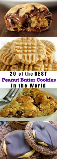 20 of the BEST Peanut Butter Cookies in the World (christmas goodies for diabetics) Best Peanut Butter Cookies, Peanut Butter Desserts, Cookie Desserts, Just Desserts, Cookie Recipes, Delicious Desserts, Dessert Recipes, Yummy Food, Fun Food