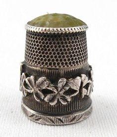 James Fenton Thimble (Antique 1902 Sterling Silver Thimbles, Vintage Hardstone Top Irish Theme)