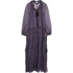 Chloé - Ruffled Silk-chiffon Maxi Dress ($2,284) ❤ liked on Polyvore featuring dresses, purple, slip dress, keyhole maxi dress, tiered ruffle dress, keyhole dress and boho dresses