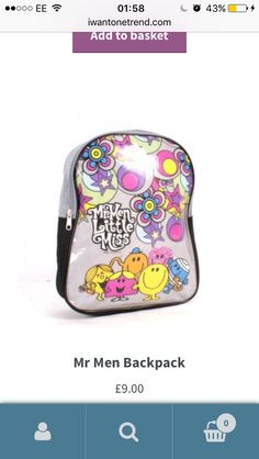 Mr Men, Men's Backpack, Check It Out, Take That, Backpacks, Ads, Stuff To Buy, Women's Backpack, Backpack
