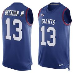 Men's Nike New York Giants #13 Odell Beckham Jr Limited Royal Blue Player Name & Number Tank Top NFL Jersey