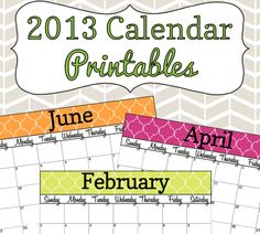 2013 Calendar Printable - Colorful