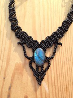 Beautiful blue fire Labradorite macrame necklace by ARTofCecilia