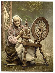 Irish Spinner and Spinning Wheel. County Galway, Ireland - photo of Irish Spinner and Spinning Wheel. This color photochrome print was made between 1890 and 1900 in Ireland. The photo documents Irish Spinner and Spinning Wheel. Old Pictures, Old Photos, Vintage Photos, Vintage Postcards, Library Of Congress, Congress Usa, Just In Case, Mythology, Fairy Tales
