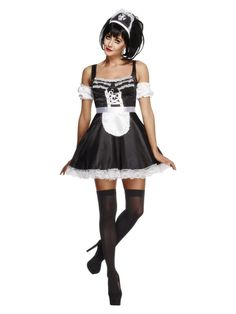 You can purchase a Women's Fever Flirty French Maid Costume for costume parties from the Halloween Spot. This black costume comes with Dress, Headpiece and Sleeves. Maid Halloween, Sexy Halloween Costumes, Dress Up Costumes, Halloween Parties, Adult Halloween, French Maid Fancy Dress, French Maid Costume, Black Costume, Maid Outfit