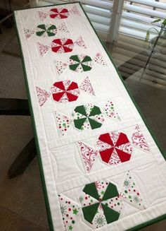 Christmas Table Runner, Holiday Table Runner, Quilted Table Runner, Table Runner, 15 x 41 Quilted Table Runners Christmas, Christmas Placemats, Christmas Runner, Table Runner And Placemats, Table Runner Pattern, Noel Christmas, Christmas Crafts, Xmas Table Runners, Kitchen Placemats