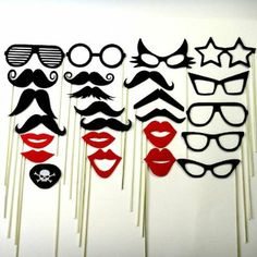 mustaches and lips on chopsticks