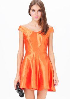 Orange Off the Shoulder Flare Dress