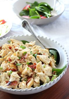 Chicken Salad with Bacon and scallions - dairy free, soy free, paleo and whole30 approved chicken salad made with homemade Paleo mayo.