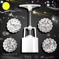 Generous New 50g 3d Plum Blossom Pattem Moon Cake Mold 1 Barrel 3 Stamp Diy Baking Tool Collectibles