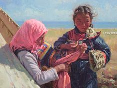 Festival Dress by Scott Burdick kp Oil Painting Frames, Oil Painting For Sale, Paintings I Love, Figure Painting, Painting & Drawing, South African Tribes, American Festivals, Native American Children, Colors And Emotions