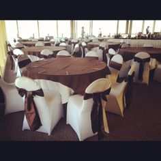 a dramtic before and after of our white spandex chair covers red