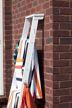 DecoArt Blog - Project - Vintage Wooden Ladder Pool Towel Holder
