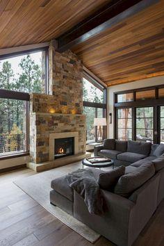 Living Room Modern, Living Room Designs, Living Rooms, Small Living, Cozy Living Room Warm, Dark Wood Living Room, Clean Living, Family Rooms, Wood Interior Design