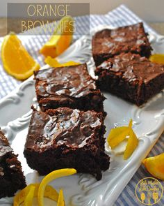 I love the combination of orange and chocolate and these orange brownies are simple to make starting with a box mix of brownies