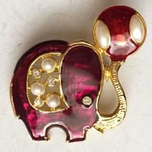 Gold plated enameled ELEPHANT shape brooch pin with faux pearls and rhinestones