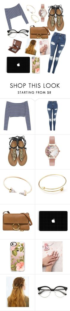 """Antonina"" by maryrbarker ❤ liked on Polyvore featuring Topshop, Roberto Cavalli, Olivia Burton, Chloé, Casetify, Static Nails, WithChic, white, black and stripes"