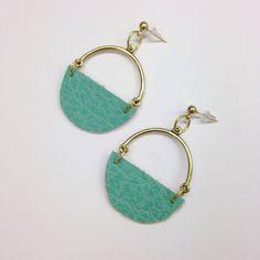 Leather Dangle Earrings, Leather earrings, Turqoise earrings  on Etsy, $15.00