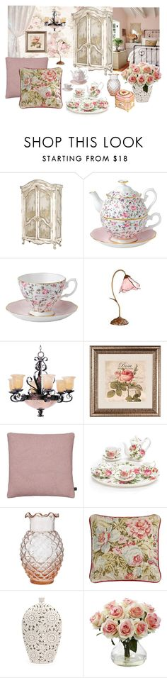"""""""Decorate with blush pink roses"""" by dezaval ❤ liked on Polyvore featuring interior, interiors, interior design, home, home decor, interior decorating, Grayce, Wedgwood, Dale Tiffany and Maxim"""