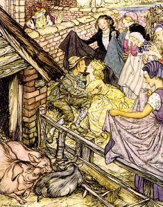 Just as the swineherd was taking the eighty-sixth kiss; The Swineherd - Fairy Tales by Hans Andersen, illustrated by Arthur Rackham, 1932 Arthur Rackham, Andersen's Fairy Tales, Morris, Great Love Stories, Hans Christian, Children's Book Illustration, Book Illustrations, Illustrators, Art Prints