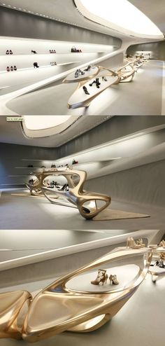 Stuart Weitzman flagship store by Zaha Hadid || Stores and windows displays.