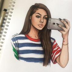 too cute ✨ Maggie Lindemann Please t. Black Girl Art, Black Women Art, Art Girl, Amazing Drawings, Beautiful Drawings, Cute Drawings, Girl Drawings, Fashion Sketches, Art Sketches