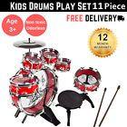 Kids Toy Musical Instrument 11 Piece Kids Drum Set W/ Stool Drumsticks- Red for sale online Drum Sets For Sale, Kids Drum Set, Toy Musical Instruments, Drums, Kids Toys, Musicals, Stool, Red, Ebay