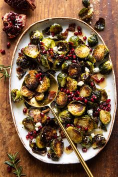 Roasted Bacon Brussels Sprouts with Salted Honey | halfbakedharvest.com
