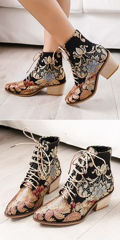 Large Size Women Pointed Toe Embroidered Lace Up Block Heel Short Boots is hot-sale. Come to NewChic to buy womens boots online. Fashion Shoes, Fashion Accessories, Fashion Outfits, Womens Fashion, Cute Shoes, Me Too Shoes, Lace Up Block Heel, Summer Boots, Look Boho