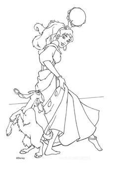 Esmeralda Her Goat Djali Coloring Page