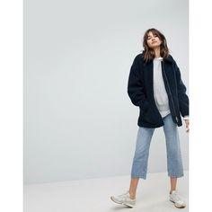 Weekday Borg Teddy Coat (£110) ❤ liked on Polyvore featuring outerwear, coats, navy, navy coat, zipper coat, slim fit coat, navy blue coats and slim coat