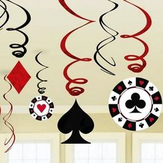 Find More Event & Party Supplies Information about Pack of 9 Foil Casino Swirl Decorations Playing Card Swirls Poker Card Decor…