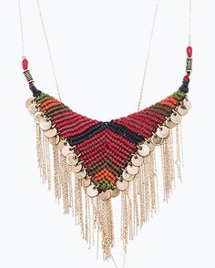 Chain and fabric necklace - Zara