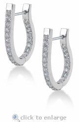 Ziamond Cubic Zirconia Hoop CZ Earrings 14K White Gold.  The Ziamond Burberri Hoop Earrings feature over 1.25 carats in total carat weight.  $995 #ziamond #cubiczirconia #cz #hoops #earrings #diamond #jewelry #czjewelry