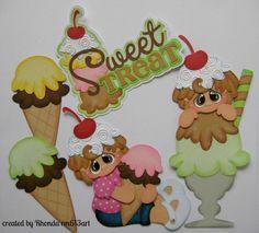 CRAFTECAFE ICE CREAM premade paper piecing scrapbook diecut piece page WOLFFEY5