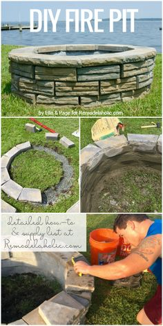 Build a retaining wall block fire pit! This tutorial has a full supply list and how-to. By Ellis and Page for Remodelaholic.com