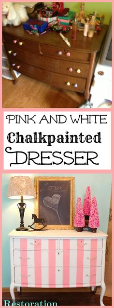 Pink and White Striped Chalkpainted Dresser by Restoration Redoux
