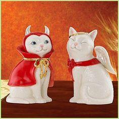 Lenox Cat Angel and Devil Salt and Pepper Shakers