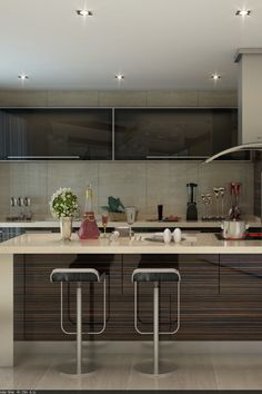 The acrylic kitchen cabinet gives off an elegant ultra-gloss design which creates a sleek modern kitchen design. Best Kitchen Cabinets, Kitchen Cabinet Design, Modern Kitchen Design, Kitchen Cabinet Manufacturers, Cool Kitchens, Table, China, Popular, Furniture